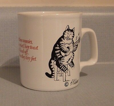 """Kliban Cat - Love to eat them mousies - coffee cup / mug - 3 1/2"""" tall"""