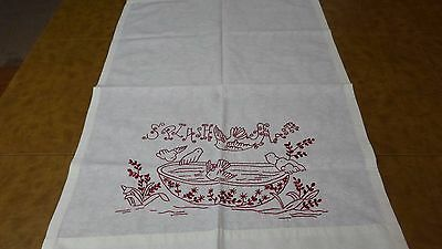 Redwork Embroidered Vintage Linen Towel
