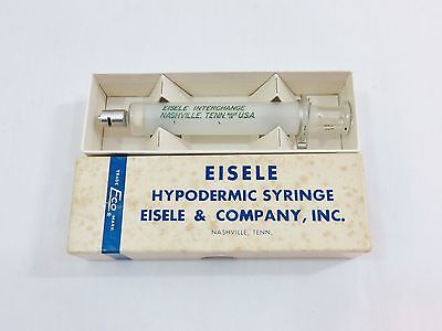 veterinary medicine syringe vintage eisele glass  10cc  interchange in box