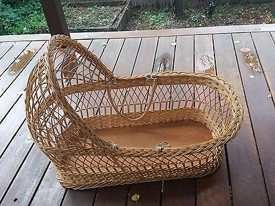 Retro-Wicker-Cane-Baby-Bassinet- BED ,Moses-Basket-May-suit-f