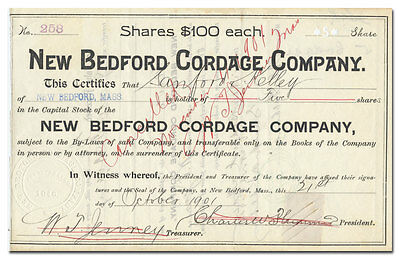 New Bedford Cordage Company Stock Certificate (Massachusetts)