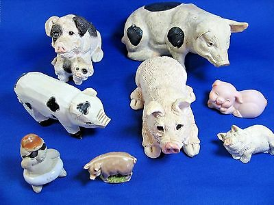 Lof of 8 Collectible Pig Figurines - Rose Tea, Stone Critters, Carved Wood, Etc