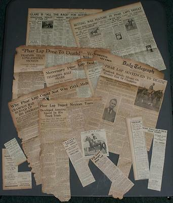 Vintage 1931,1936, PHAR LAP RELATED Original Newspaper Clippings -Woodcock, Pike