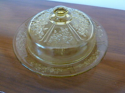 """SHARON """"CABBAGE ROSE"""" Amber butter dish (Depression Glass)"""