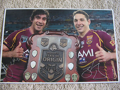 JOHNATHAN THURSTON & BILLY SLATER HAND SIGNED ORIGIN SHIELD PHOTO 12x18 INCH