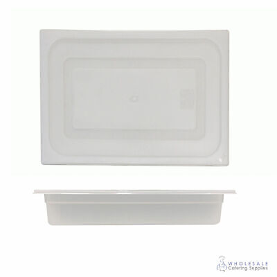 12x Food Pan with Clear Lid 1/2 GN 65mm Half Size Polypropylene Gastronorm