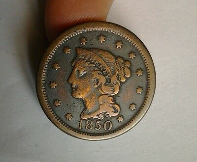 1850 USA United States Large 1 One Cent Braided Hair Coin