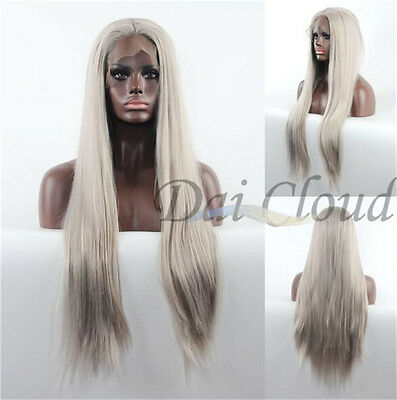Ash Blonde Lace Front Synthetic Wigs Long Straight Wig Hair Heat Resistant Party