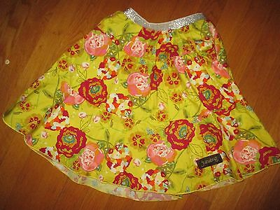 Girls Junebug Yellow Pink Floral Full Skirt Size 6