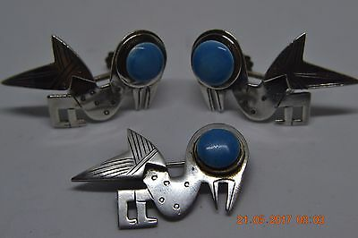 Vintage Graziella Laffi Sterling Silver Peru Screwback Earrings Brooch Set
