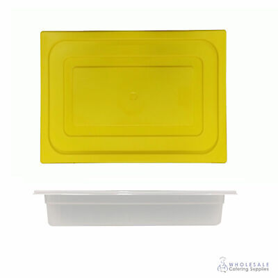 12x Food Pan with Yellow Lid 1/2 GN 65mm Half Size Polypropylene Gastronorm