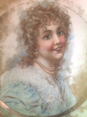 Antique Porcelain Portrait Plate With Victorian Lady in Pearls