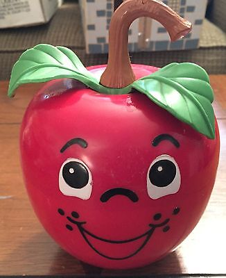 Vintage FISHER-PRICE Happy Apple Long Stem Roly Poly 1972 435 Red Toy Ball Chime