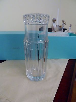 Pristine Tiffany & Co. Glass Crystal Tumble Bedside Carafe Atlas Pattern Signed