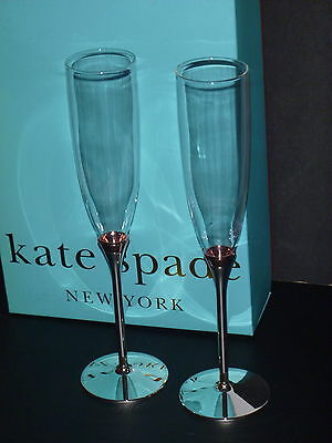 Kate Spade by Lenox Rosy Glow Champagne Flute Glasses-Set of Two-Wedding BNIB