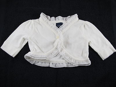 Baby Gap Infant Girl 3-6 Months White Cotton Knit Shrug Sweater with Ruffle VGUC