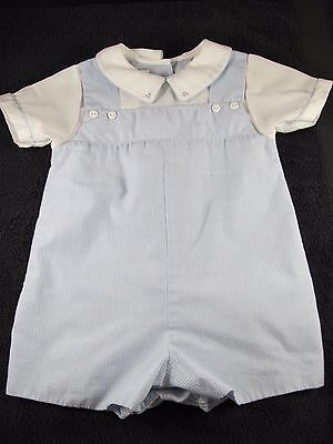 Petit Ami Baby Boys One Piece Romper Shortall 9 Months Blue/White Check NWOT