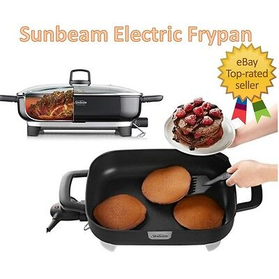 Electric Frypan Sunbeam Large Family Fry Pan NonStick Cooking Surface Non Stick
