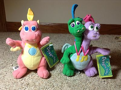 """2 Dragon Tales Plushes - 1999 Cassie And 2000 Zak & Wheezie - 7"""""""