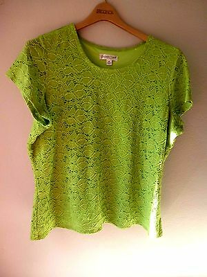 Coldwater Creek Lace Short Sleeve Top  Apple Green 1X 18 Fully Lined, Nice