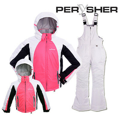 PERYSHER Extra Warm Kids Snowboard Ski Jacket and Pants - Candy Pink & White Sui