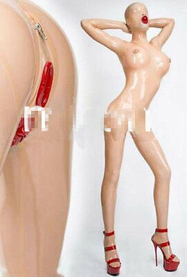 100%Latex Rubber Catsuit Transparent and Red Hood Bodysuit Suit Sizes XS-XXL