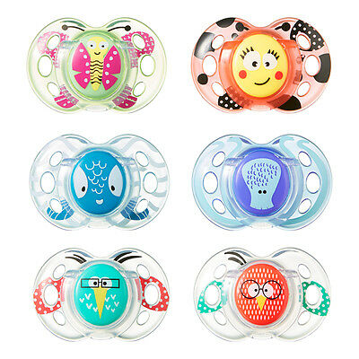 Tommee Tippee Fun Style soothers age 6-18m 2 in a pack various colours bpa free