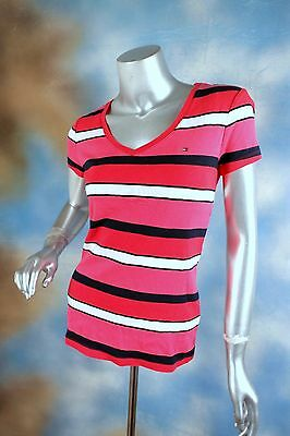 NEW TOMMY HILFIGER hot pink navy white striped v neck tee t-shirt blouse top M