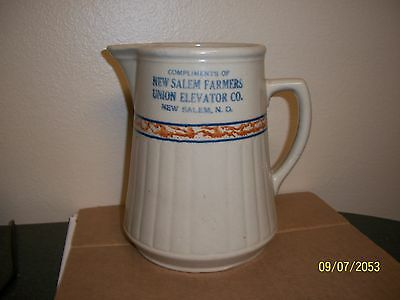 Red Wing Sponge Band Pitcher Advertising Farmers Union New Salem N.d.