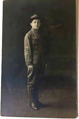 Rare Antique Vintage Boy Scout BSA ? Photo Postcard Badges Military Uniform