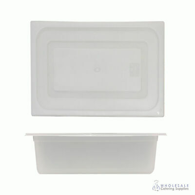 12x Food Pan with Clear Lid 1/2 GN 150mm Half Size Polypropylene Gastronorm