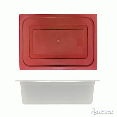 12x Food Pan with Red Lid 1/2 GN 150mm Half Size Polypropylene Gastronorm