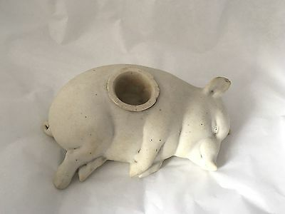 "ANTIQUE Victorian era GERMAN BISQUE POTTERY INKWELL in the form of a pig,7""wide"