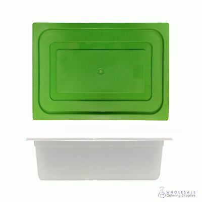 12x Food Pan with Green Lid 1/2 GN 150mm Half Size Polypropylene Gastronorm
