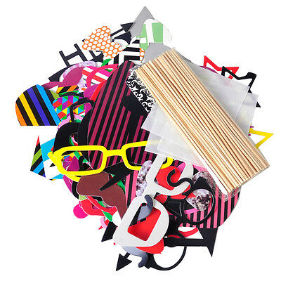 76pcs DIY Mask Photo Booth Props Stick Wedding Birthday Xmas Party Fun Favor
