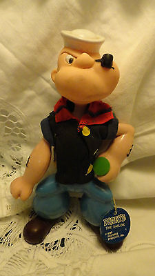 Vintage rubber plastic Popeye figure by R.Dakin & Co with original Hang tag