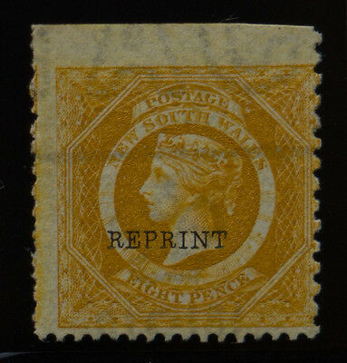 1885 QV New South Wales 8d Yellow Reprint MLH SG 236ca