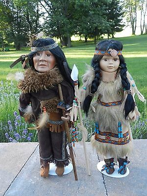 """Vtg Collector Native American Doll Set Indian Maiden Chief Porcelain 17"""" Tall"""