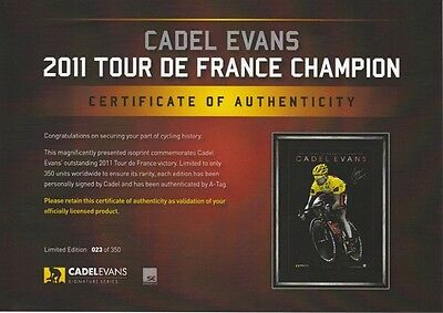 Tour de France Cadel Evans Champion Signed Print