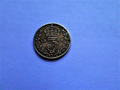 Silver Three Pence 1916 -Good Cpndition