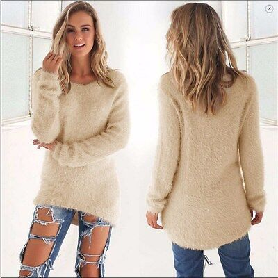 Women Ladies Knitted Pullover Loose Long Sleeve Sweater JumperS Outwear Dresses
