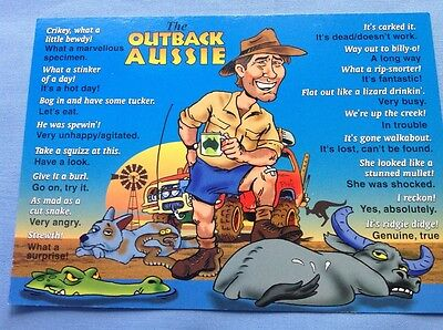 The Outback Aussie Words...Unused Postcard