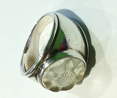 RARE VINTAGE LALIQUE RING JEWELLERY Solid HM silver crystal glass RETRO Antique