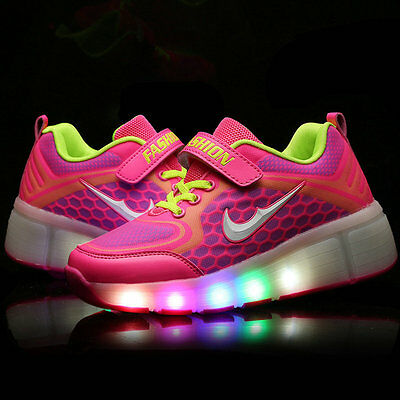 Girls LED Light Shoes Retractable Wheels Roller Skate Shoes Kids Gifts Sneakers