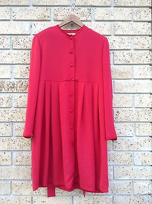 Designer Maternity Dress, Monica Monkhouse, Size 10/12, Red Sateen, Long Sleeve.