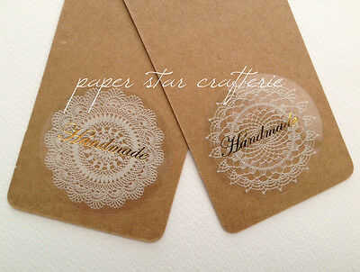 HANDMADE STICKERS Gold Hand Made Lace Doily Labels Seals Craft Favours 48 pcs