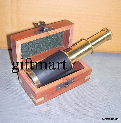6'' Brass Antique Style Pirates Spyglass Telescope With Wooden Box