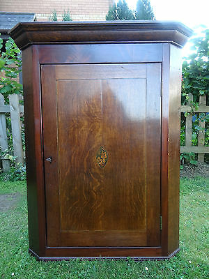 Superb All Original George Iii Marquetry Country Oak & Mahogany Corner Cabinet
