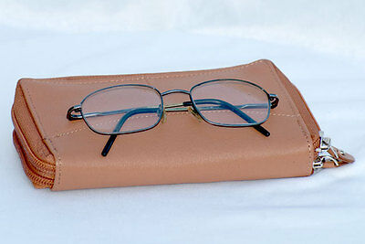 NEW Spectacle Case#For Double specs#Genuine Soft Lambskin#Zip Closure#Rectangle