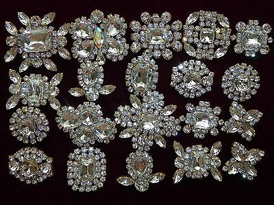 Huge Lot 20 Pieces Vintage Crystal Czech Rhinestone Buttons Nice Glass